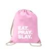 eat-pray-slay-turnbeutel-bedruckt-rucksack-stoffbeutel-hipster-beutel-gymsack-sportbeutel-tasche-turnsack-jutebeutel-turnbeutel-mit-spruch-turnbeutel-mit-motiv-spruch-für-frauen-pink-rosa